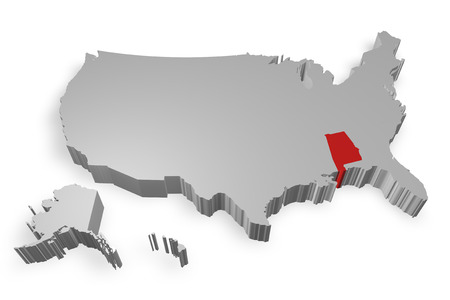 alabama state: Alabama state on Map of USA 3d model on white background