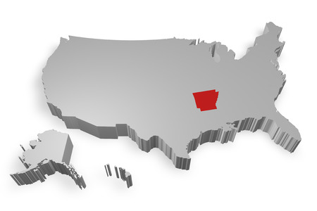 arkansas state map: Arkansas state on Map of USA 3d model on white background