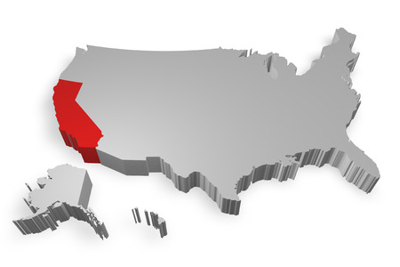 California state on Map of USA 3d model on white background photo