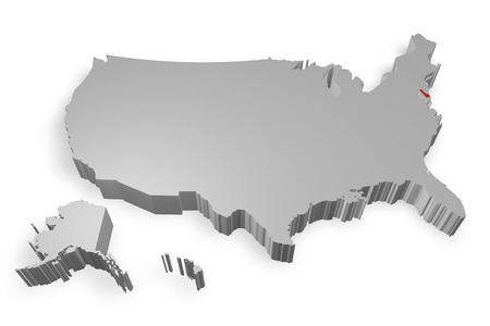 Dealaware state on Map of USA 3d model on white background photo