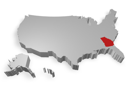 Georgia state on Map of USA 3d model on white background photo