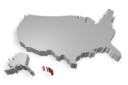 Hawaii state on Map of USA 3d model on white background photo