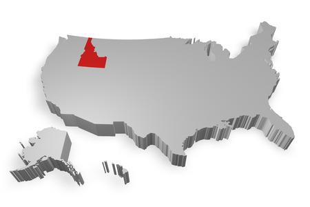 idaho state: Idaho state on Map of USA 3d model on white background