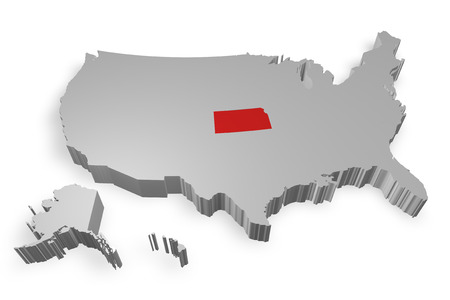 Kansas state on Map of USA 3d model on white background photo
