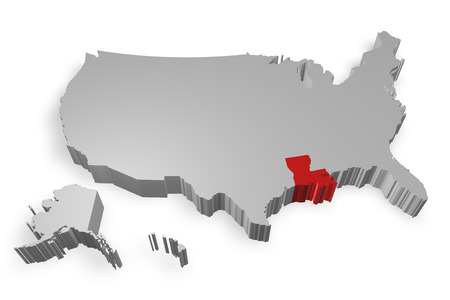 louisiana state: Louisiana state on Map of USA 3d model on white background