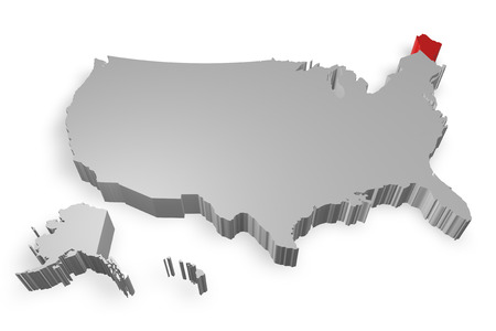 Maine state on Map of USA 3d model on white background photo