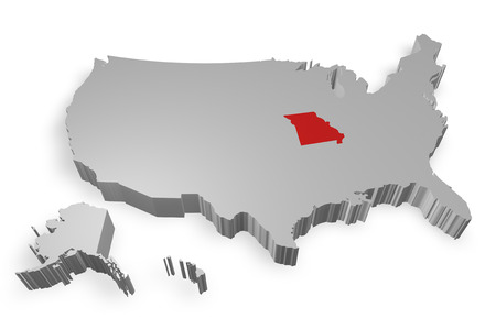 Missouri state on Map of USA 3d model on white background