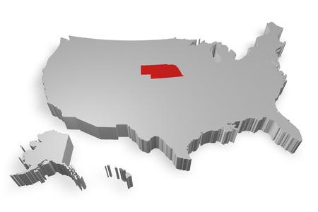 Nebraska state on Map of USA 3d model on white background