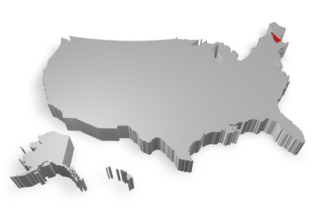 New Hampshire state on Map of USA 3d model on white background photo