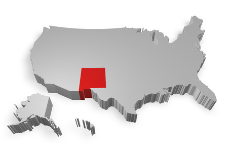 New Mexico state on Map of USA 3d model on white background photo