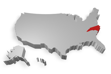 North Carolina state on Map of USA 3d model on white background photo