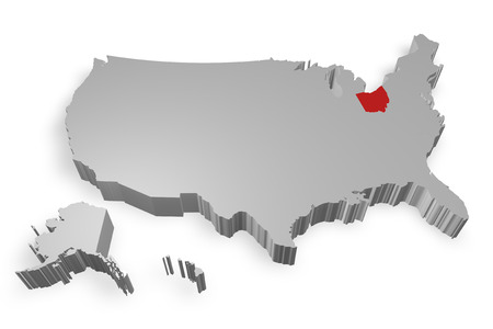 Ohio state on Map of USA 3d model on white background