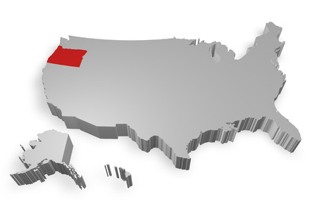 Oregon state on Map of USA 3d model on white background photo