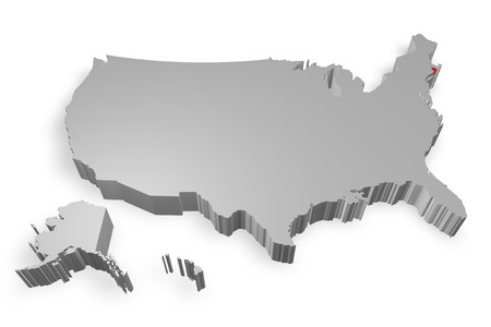 Rhode Island state on Map of USA 3d model on white background photo