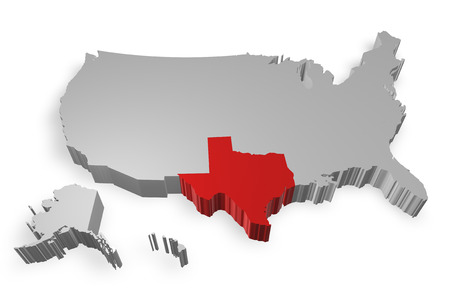 Texas state on Map of USA 3d model on white background photo