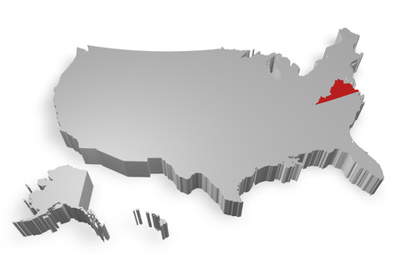 Virginia state on Map of USA 3d model on white background photo