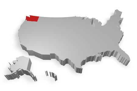 Washington state on Map of USA 3d model on white background photo