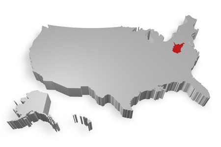 west virginia: West virginia state on Map of USA 3d model on white background Stock Photo