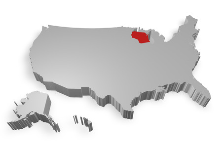 Wisconsin state on Map of USA 3d model on white background photo