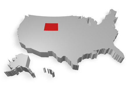 Wyoming state on Map of USA 3d model on white background photo