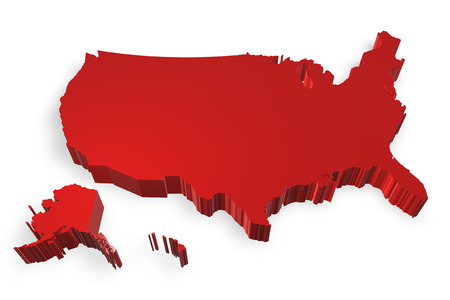 Map of USA 3d model on white background photo
