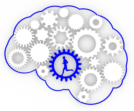 Body brain gears ideas man running  Man running inside of a gear to run the brain photo