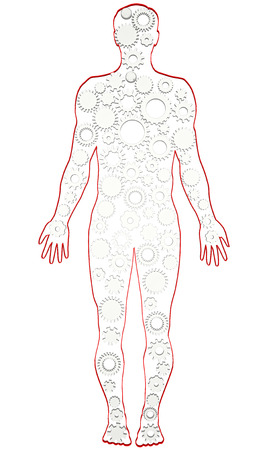 reciprocate: Man silhouette human body silhouette gear  Stock Photo