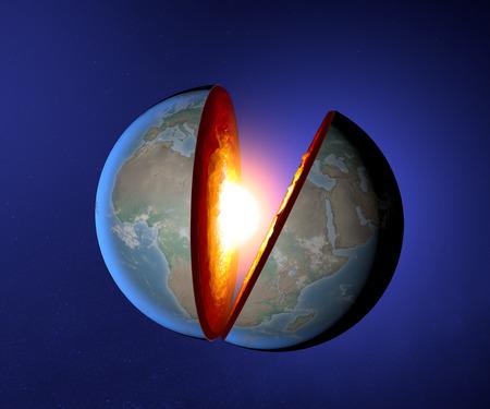 Föld magjának, föld, világ, split, geofizika Stock fotó
