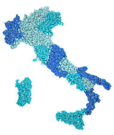 Map of Italy Regions 3d blue sheets clippings  photo