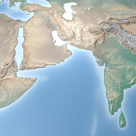 yemen: World Map, physical map, Middle East, North Africa and Europe