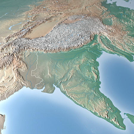 World Map, physical map, India