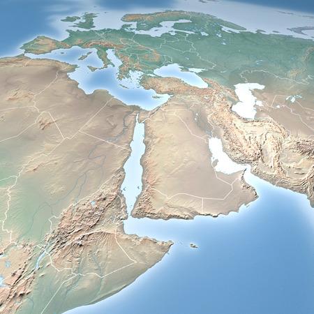 física: Mapa del mundo, mapa físico, Oriente Medio, África del Norte y Europa