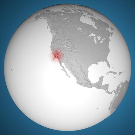 epicenter: America map, United States, California earthquake shock  Stock Photo