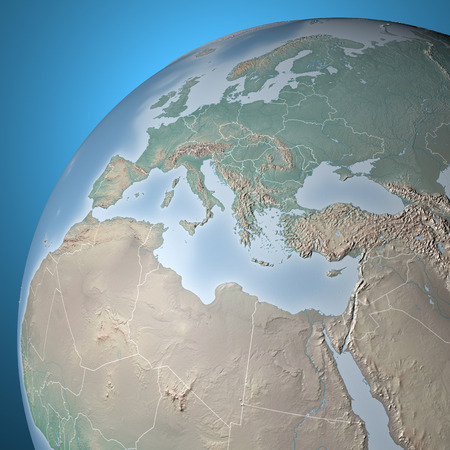 World Map, physical map, Middle East, North Africa, Europe