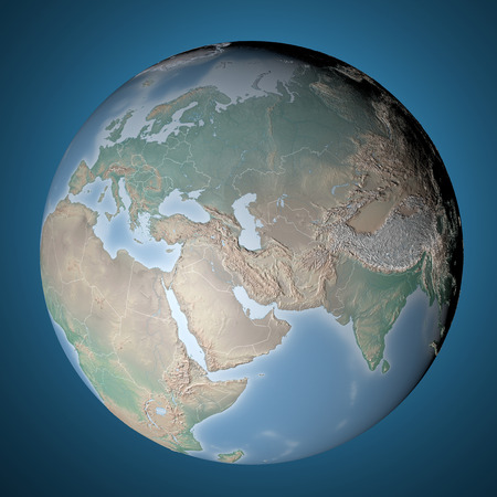 World Map, physical map, Middle East, North Africa, Europe and Asia