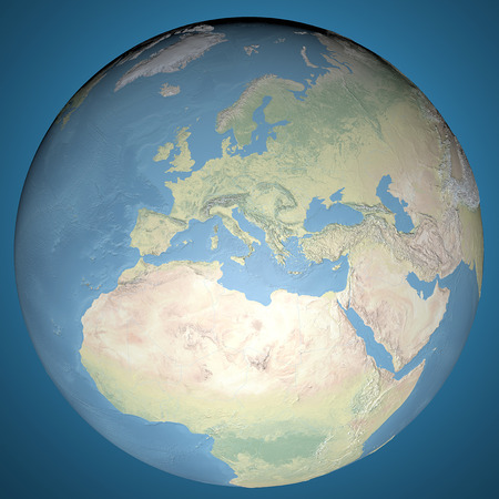 World Map, physical map, Europe, Middle East and North Africa