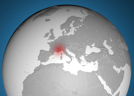 tectonics: Map globe, land in relief, earthquake France Alps  Stock Photo
