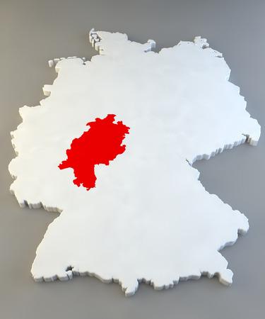 hessen: Germany region map, Hessen Stock Photo