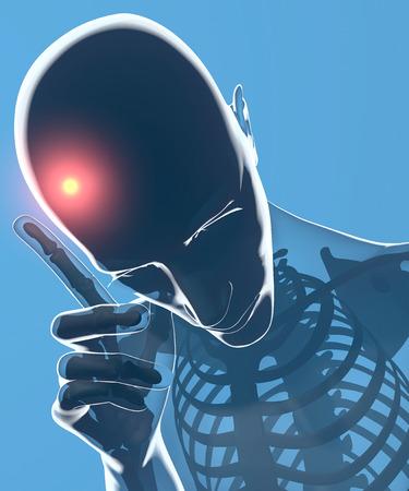 Headache, head, human body on x-ray Stock Photo - 27540690