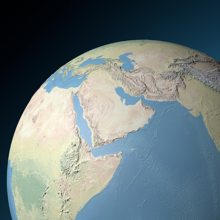 middle east: Physical map of Middle East