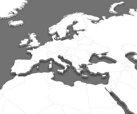 Karte von Europa und Nordafrika Lizenzfreie Bilder