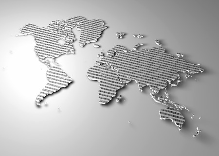 extruded: World map with binary numbers as texture
