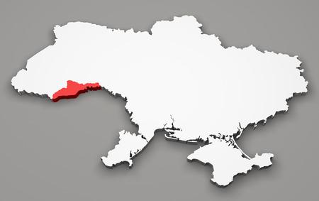 chernivtsi: Map of Ukraine, division regions, Chernivtsi Stock Photo