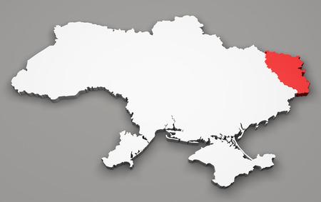 luhansk: Map of Ukraine, division regions, Luhansk