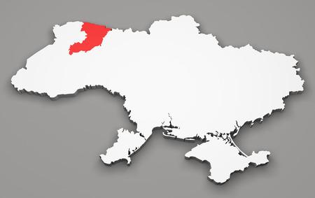 luhansk: Map of Ukraine, division regions, Rivne