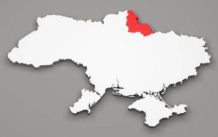 sumy: Map of Ukraine, division regions, Sumy