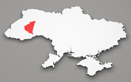 luhansk: Map of Ukraine, division regions, Ternopil Stock Photo