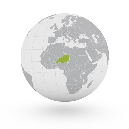 niger: Globe Africa Niger Stock Photo
