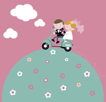 Newlyweds ride scooter honeymoon