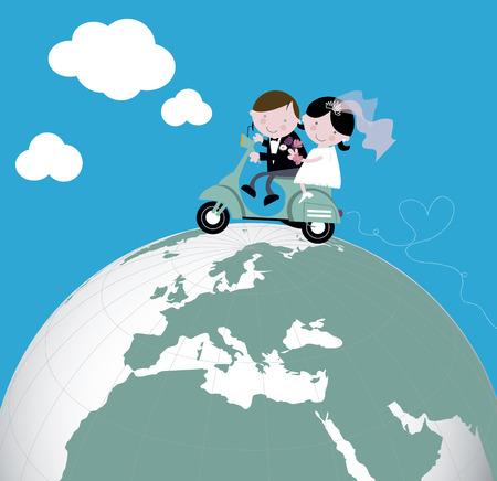 Los recién casados ??de luna de miel paseo scooter
